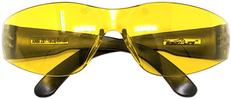 Keystone Color Lens Black Temple Safety Glasses, Fits Adult and Youth, Yellow and Green