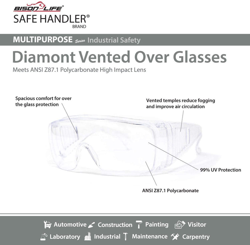 Diamont Vented Over Glasses Safety Glasses | Meets ANSI Z87.1, Impact Resistant Polycarbonate Lens | Fits Adult and Youth