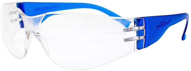 CRYSTAL | Clear Lens Color Temple Blue Safety Glasses | Fits Adult and Youth