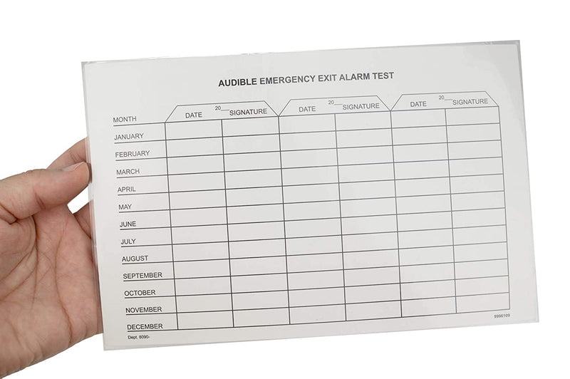 Audible Emergency Exit Test Report | Reusable Laminated Cardstock Test Report Form, Safety Inspection Template