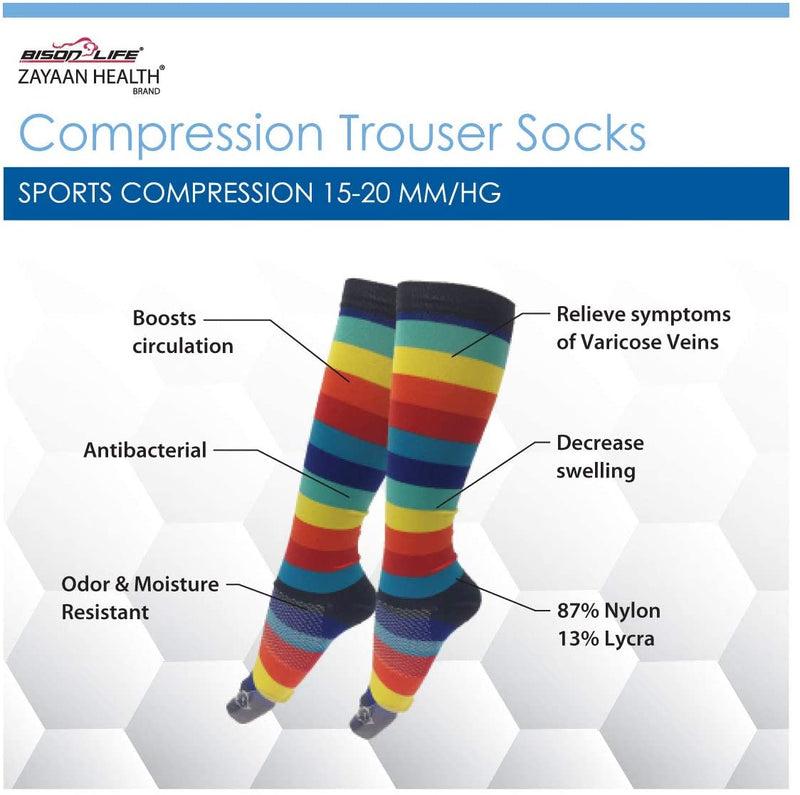 Chroma Multi Color Compression Socks  | Fits Adult and Youth