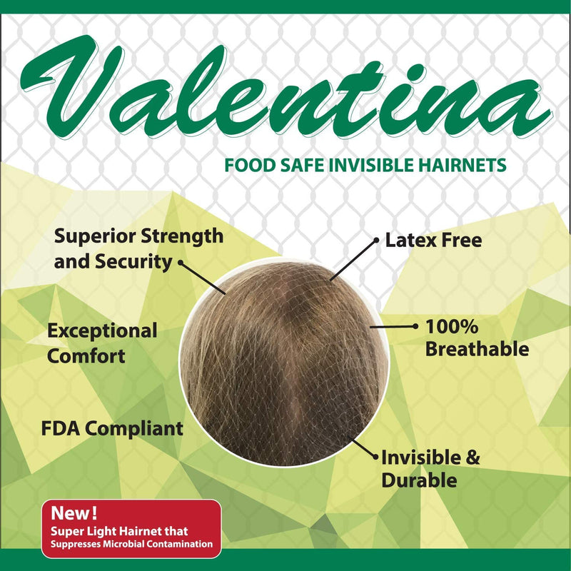 "Valentina Invisible 22"" Black, Light Brown, Dark Brown and White Hair Nets 