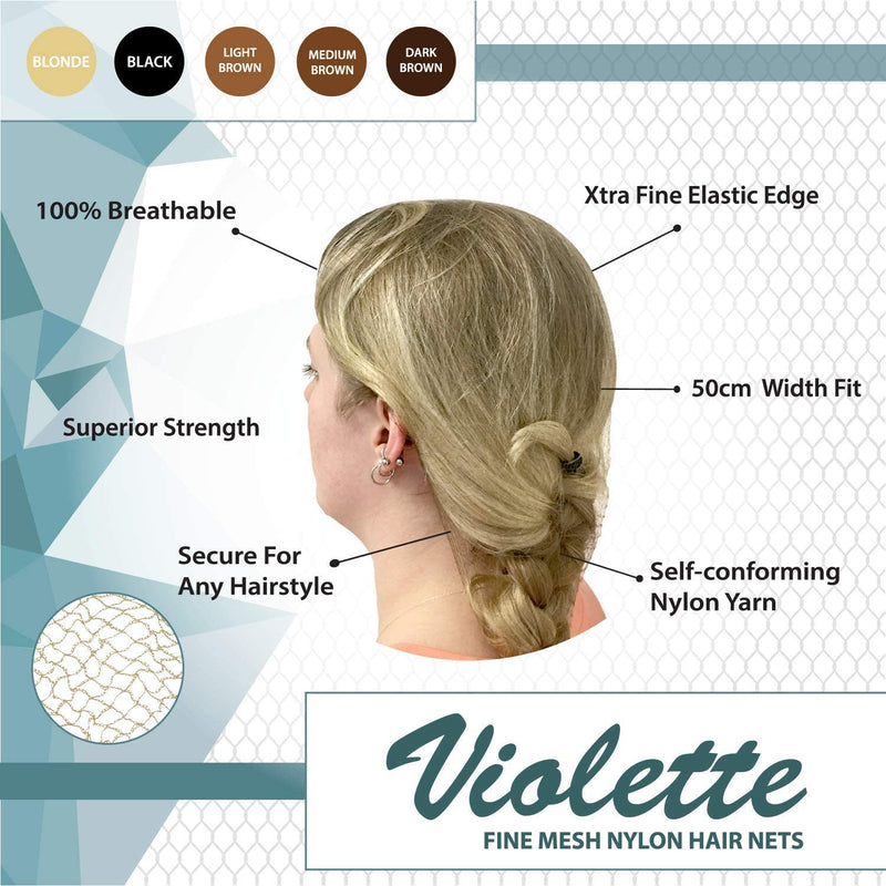 Violette Fine Mesh Medium Brown Hair Nets | Fits Adult and Youth
