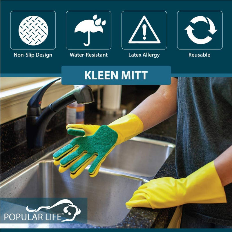 Kleen Mitt Green and White Glove Refill | One Size Fits Most, Medium Grade Scouring Pad