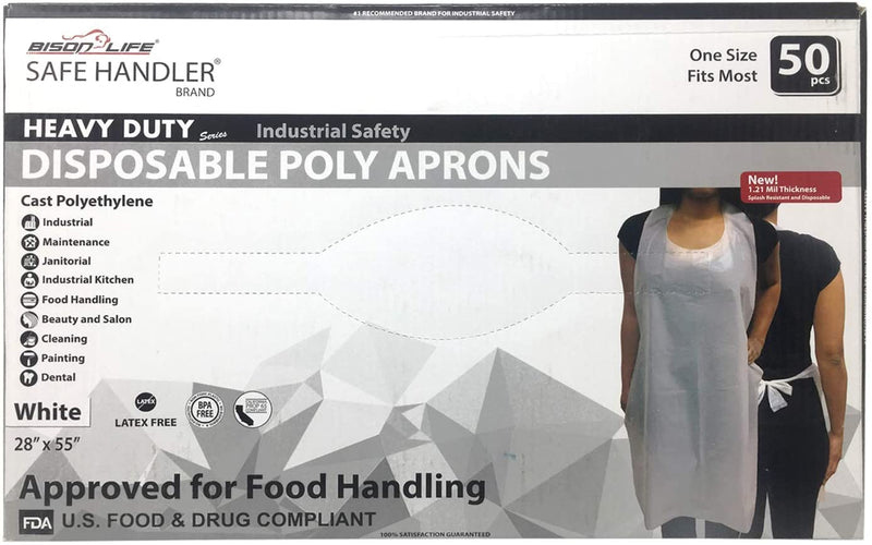 Disposable Poly Aprons | 1.21 Mil Thickness, Waterproof and Disposable, Box of 50 (1 Box)
