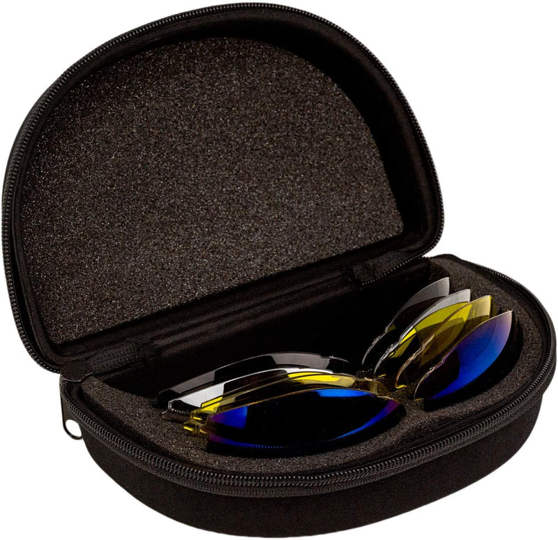 Valkyrie Interchangeable Safety Glasses Kit | 5 Sets of Lenses, Shooting Eyewear Kit with Storage Case, Microfiber Bag and Strap, Clear, Black, Yellow, Blue Mirror and Outdoor Mirror