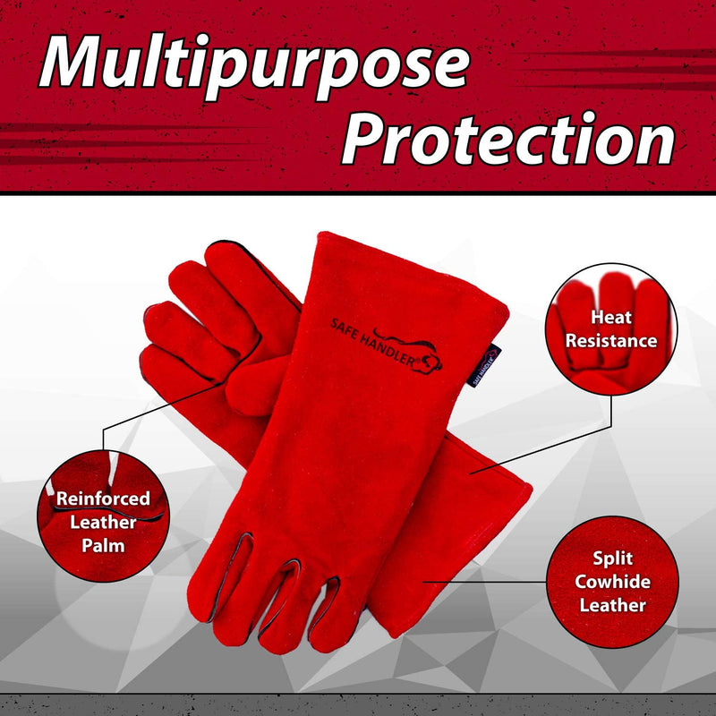 "Deluxe 16"" Welding Gloves with Reinforced Padding 