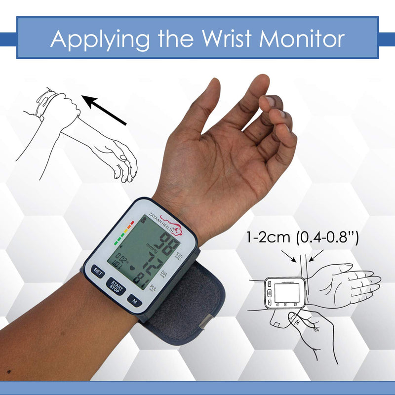 Fully Automatic Wrist Blood Pressure Monitor, 120 Memory, Fast Response, Storage Case Included