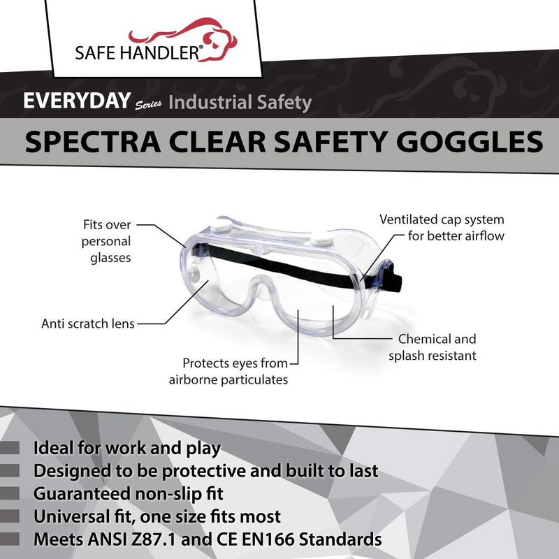 SAFE HANDLER Spectra Safety Goggles | Clear Anti-Scratch, Fits Over Glasses, Ventilated Impact Protection