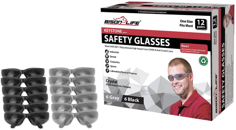 KEYSTONE | Full Color Grey and Black Safety Glasses | Fits Adult and Youth