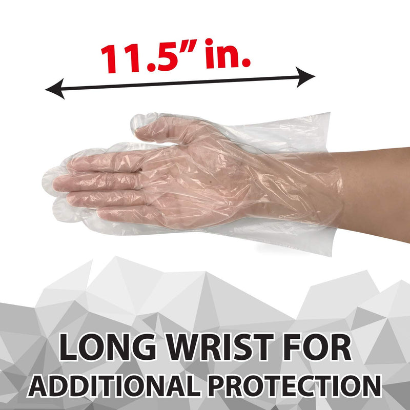 "Disposable Food Handling Long Cuff Poly Gloves | 0.65g. 11.5"" One Size Fits Most"