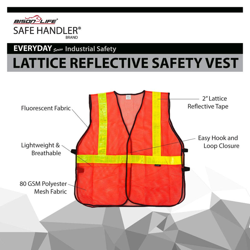 Lattice Reflective Safety Vests | Lightweight and Breathable, Fluorescent Fabric, Hook & Loop Closure, Pack of 10 Pcs