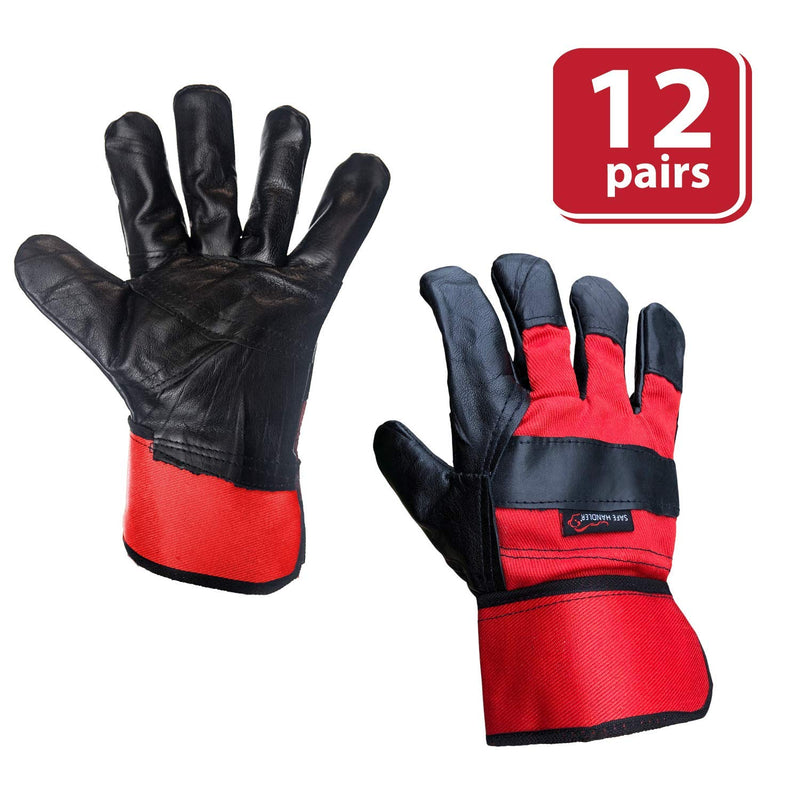 "Premium Work Leather Gloves with Extra Leather Knuckle Protection | 3"" Safety Cuff, Durable Leather Work Gloves For Men and Women"