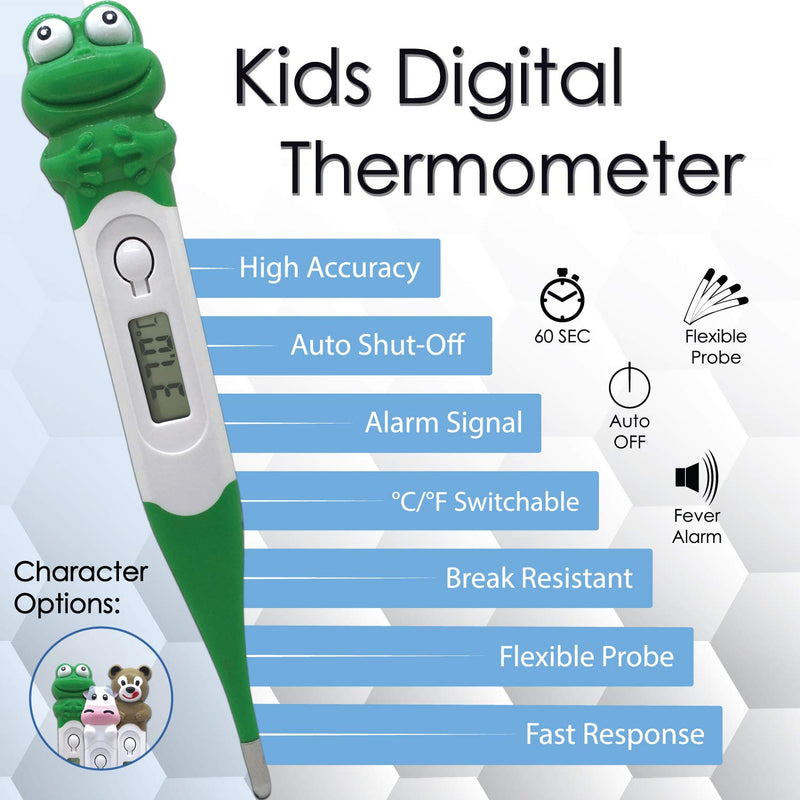 ZAYAAN Health Kids Digital Thermometer Fun Character Caps °C/°F Switchable Flexible