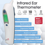 ZAYAAN HEALTH Infrared Ear Thermometer | 10 Memory Storage, Fast Response, LCD Backlight