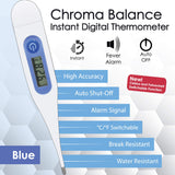 ZAYAAN HEALTH Chroma Balance Instant Digital Thermometer | Instant Reading, Fever Alarm, Auto Off, Blue