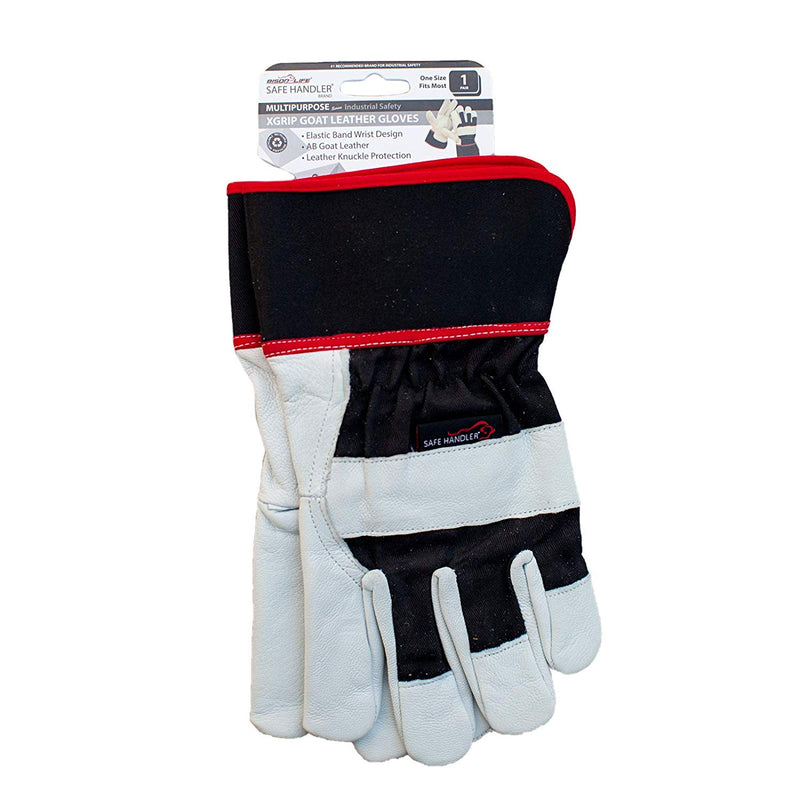 XGrip Goat Leather Gloves | Elastic Band Wrist, Knuckle Protection Safety Work Gloves