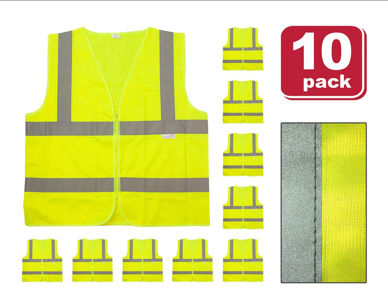 Reflective Safety Vest | Lightweight and Breathable, Fluorescent Fabric, Hook & Loop Closure, Mesh Fabric, 10 PACK