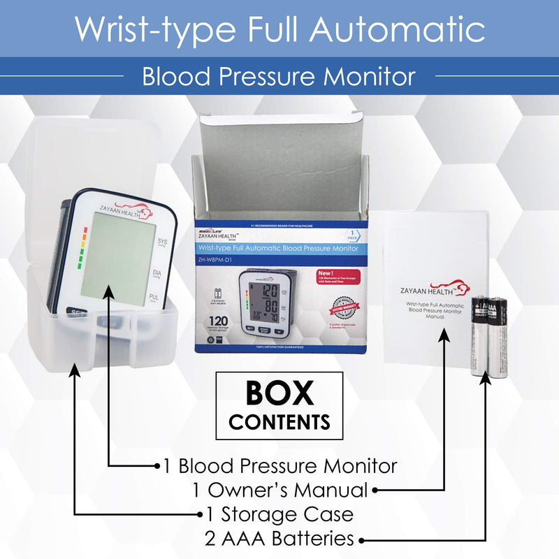 Wrist Fully Automatic Blood Pressure Monitor | 120 Memory, Fast Response, Storage Case Included