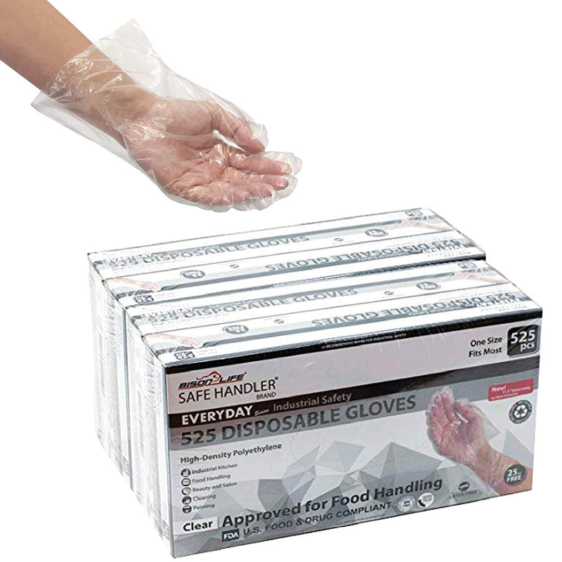 "Disposable Long Cuff Poly Gloves | 0.65g. 11.5"" One Size Fits Most"