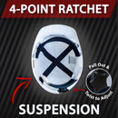 Impact Pro Safety Hard Hat | High-Impact HDPE with Sweatband, 4 Point Ratchet Suspension, White