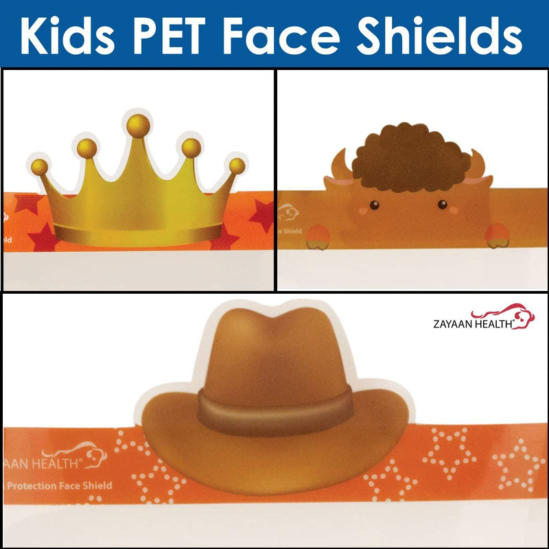 Kids PET Face Shield | Graphics for Kids Reusable and Disposable Safety Face Shield, Full Face Coverage for Children, Lightweight Protection, Crown, Bison and Cowboy Designs