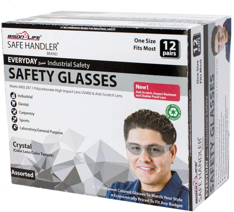 CRYSTAL | Full Color Blue Safety Glasses | Fits Adult and Youth