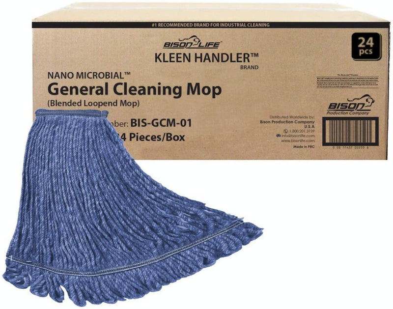 Commercial Universal Headband Blend Blue Cotton Looped End String Cleaning Mop Head Refill