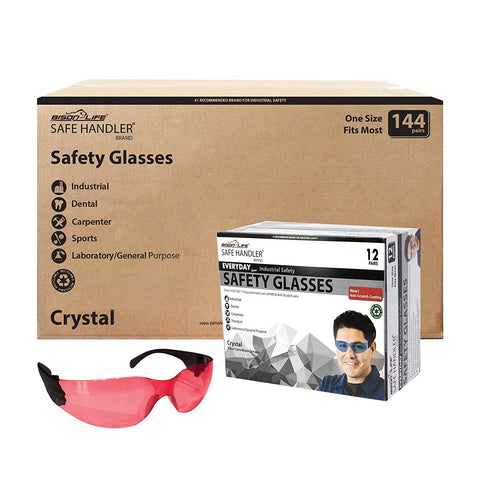 SAFE HANDLER Protective Safety Glasses, Red Polycarbonate Impact and Ballistic Resistant Lens - Black Temple (Case of 12 Boxes, 144 Pairs Total)