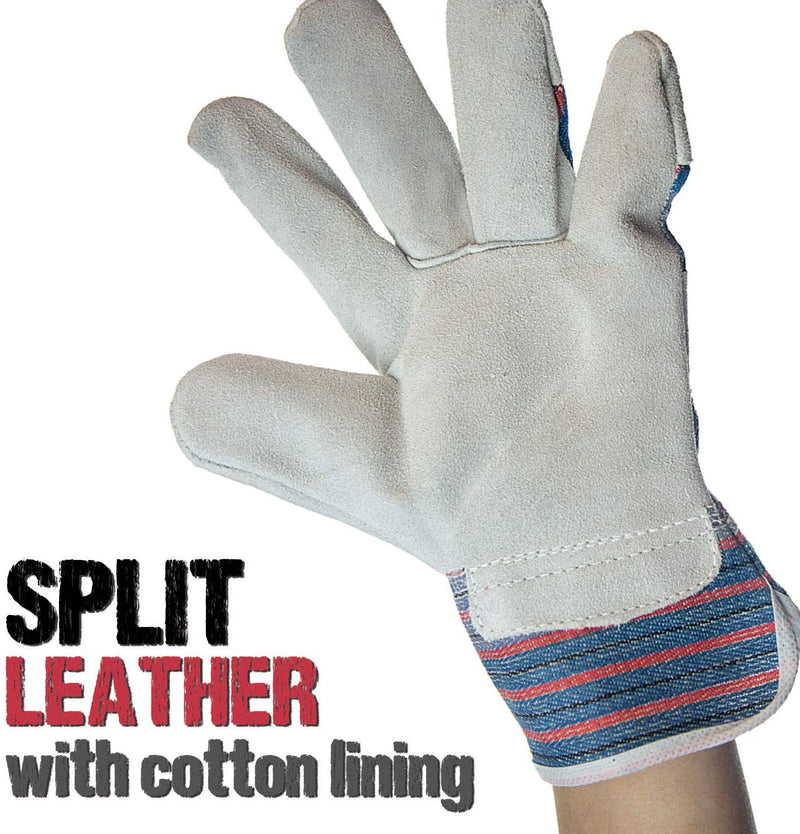 Work Leather Gloves | Cool Cotton Lined Backing, Split Leather Safety Cuff Work Gloves, Lightweight and Versatile