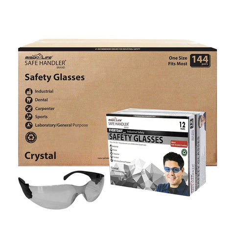SAFE HANDLER Protective Safety Glasses, Grey Polycarbonate Impact and Ballistic Resistant Lens - Black Temple (Case of 12 Boxes, 144 Pairs Total)