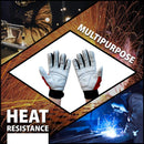 MIG Welding Gloves | Sturdy, Fire Resistant for Grill Fireplace Furnace BBQ, Non-slip Material, Breathable, Flexible, Hook and Loop Closure, Reinforced Palm