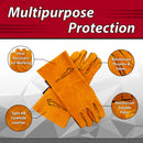 Reinforced Welding Gloves Leather for Extra Dexterity, Double Palm Reinforcement, Heat Resistant for Ovens, BBQ Grill, Fireplace, Furnace, Stove, Welder, Animal Handling