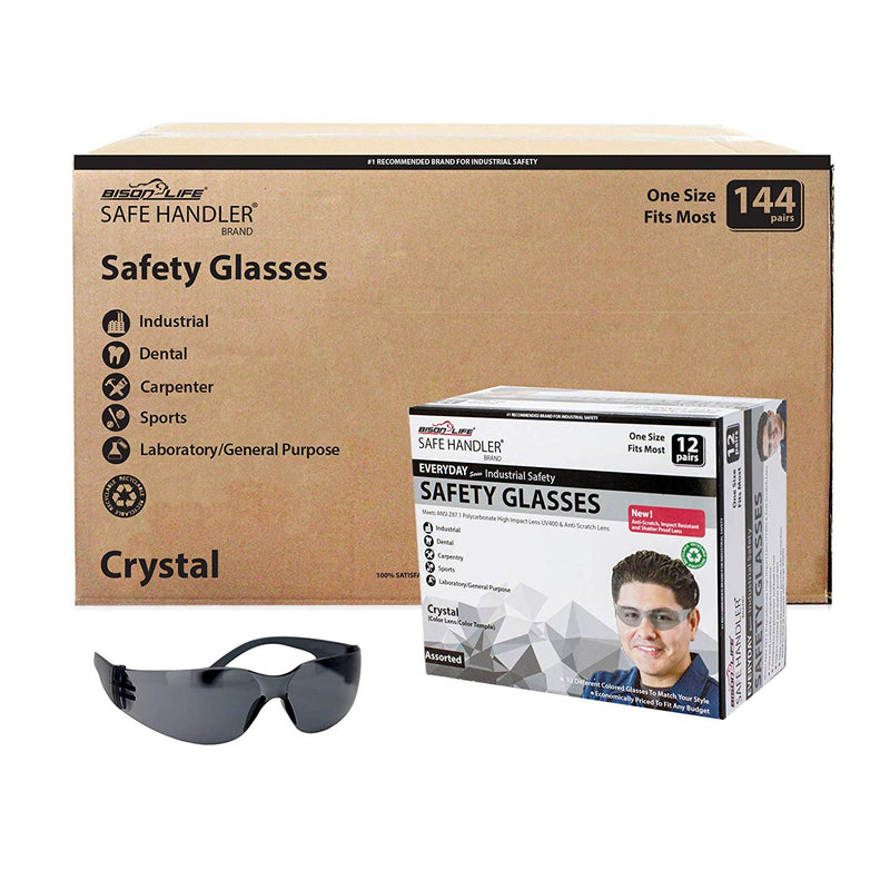 CRYSTAL | Color Lens Black Temple Black Safety Glasses | Fits Adult and Youth