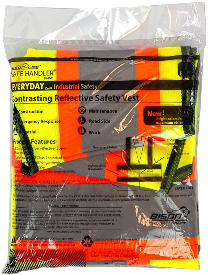 Contrasting Reflective Safety Vest | Lightweight and comfortable, bright colors for maximum visibility, knit polyester fabric,10 PACK