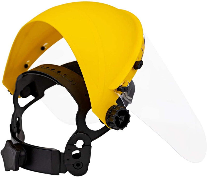 Face Shield with Ratchet | Reusable Full Facial Protection, Eyes, Nose & Mouth Coverage, Lightweight, Yellow