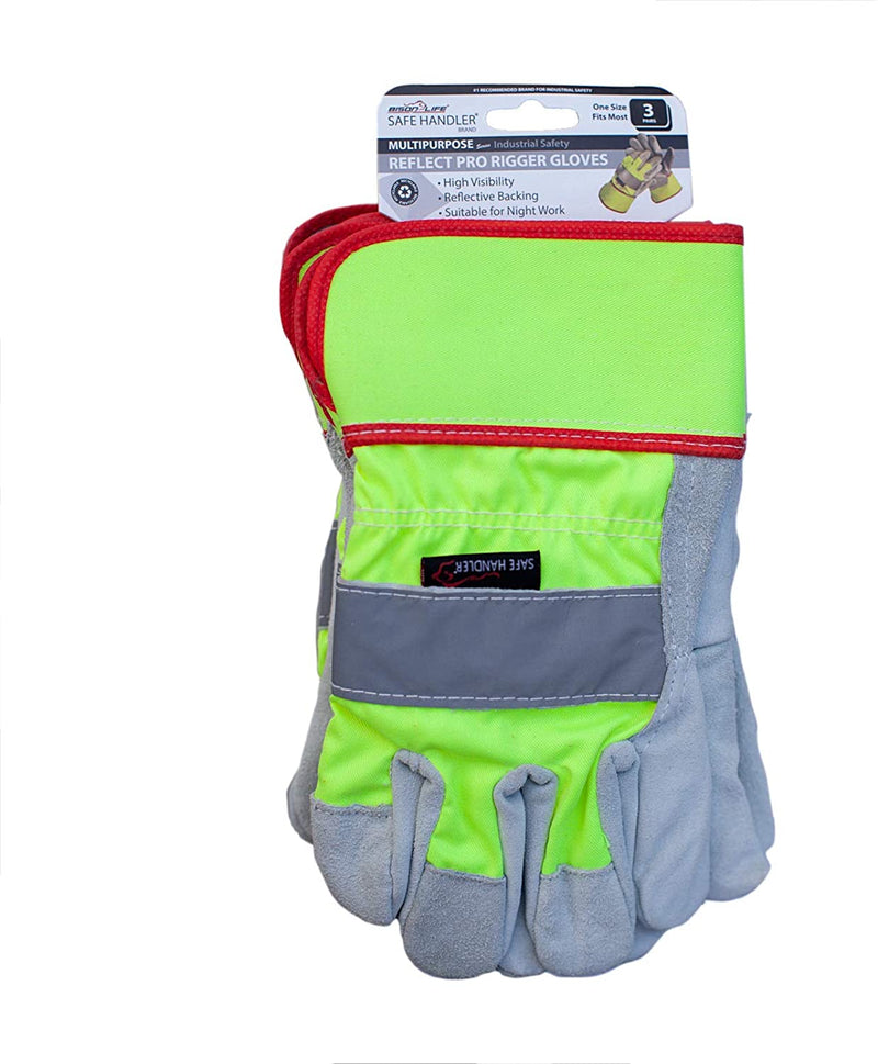 Reflect Pro Rigger Gloves | High Visibility, Reflective Backing, Night Work, Split Leather, For Men and Women, OSFM