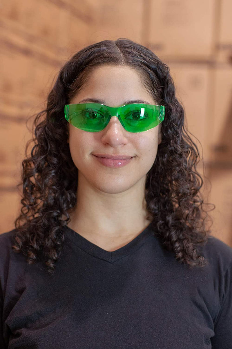 KEYSTONE | Full Color Yellow and Green Safety Glasses | Fits Adult and Youth