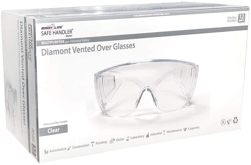 Diamont Vented Over Clear Safety Glasses, Fits Adult and Youth