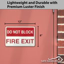 "Do Not Block Fire Exit Sign | 12"" x 8"" Metal Fire Safety Sign, Red and White"