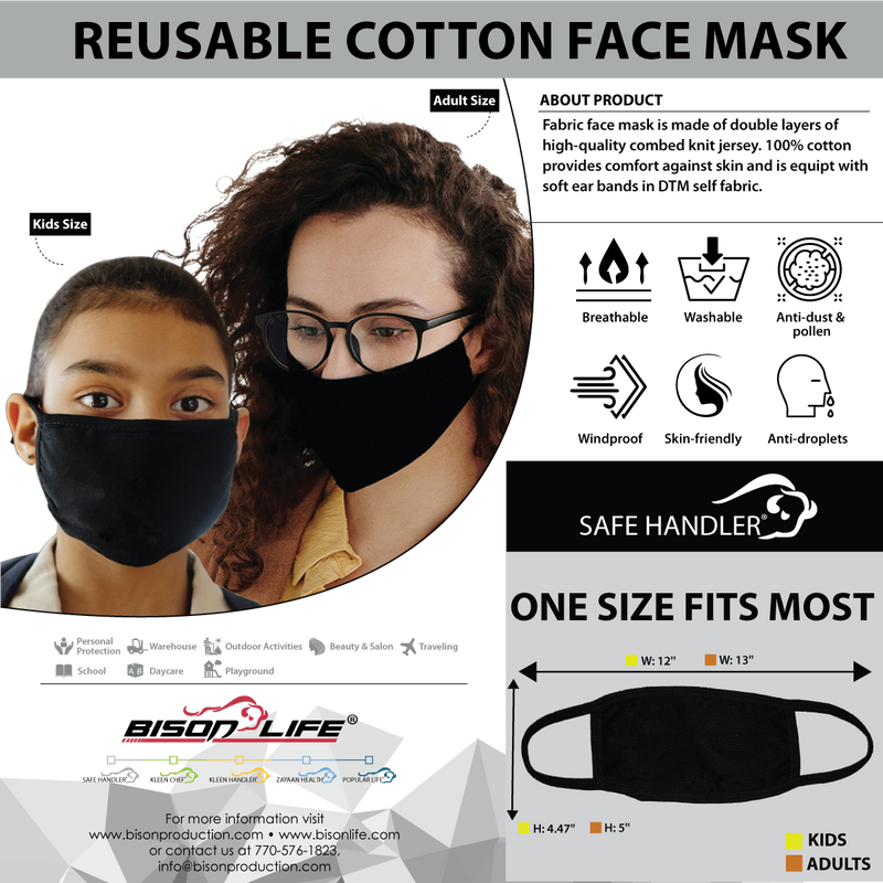 Kids Reusable Cotton Face Mask | Washable Mask for Kids, Children's Protective, Soft Breathable Jersey Cloth Mask