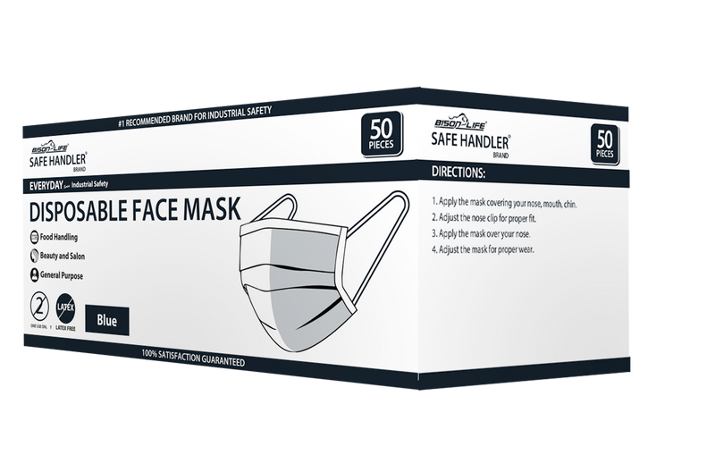 Disposable 3 Ply Facemask | Outdoor & Indoor Dust Mask, Soft & Comfortable Protection with Elastic Ear Loops, 3 Layers of Filtered Breathing, BLUE