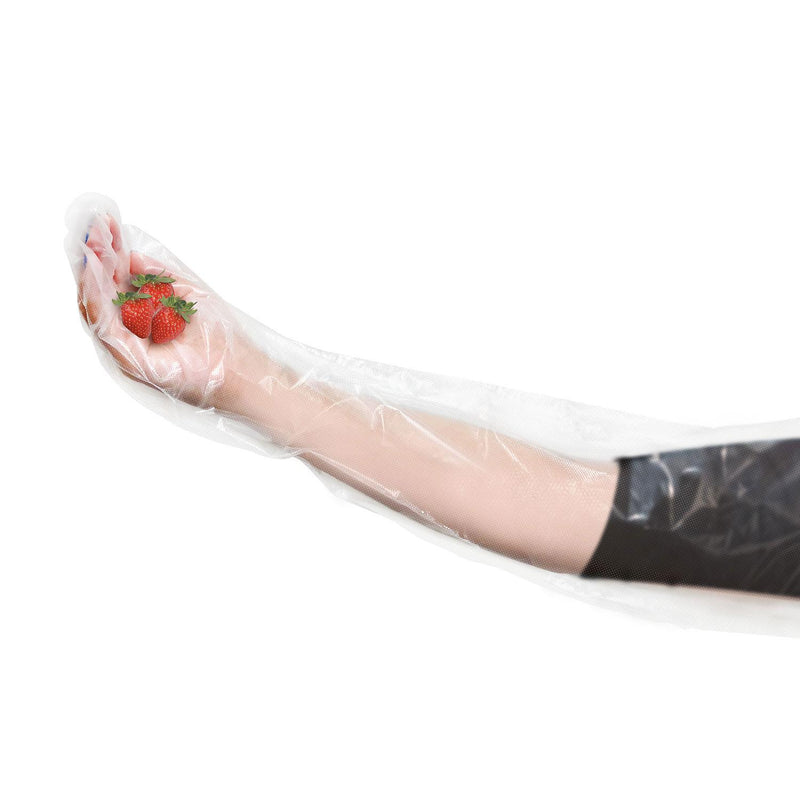 Disposable Food Handling Shoulder Length Poly Gloves - One Size Fits Most