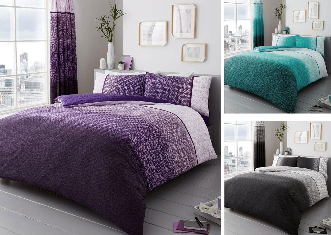Duvet sets in grey teal or purple geometric shapes quilt cover & pillow cases