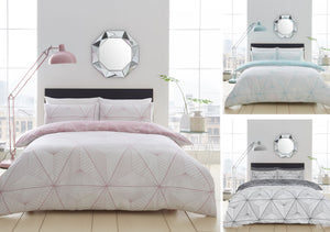 Duvet set geometric linear design bedding pink aqua grey quilt cover set