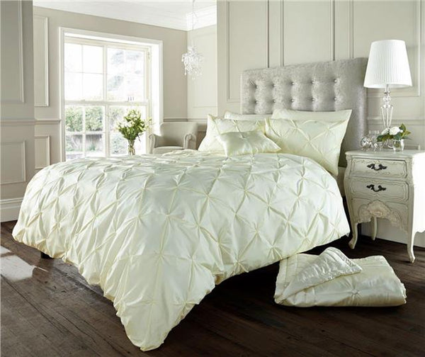 Cream bedding duvet sets plain matt cotton quilt cover diamond pintuck design
