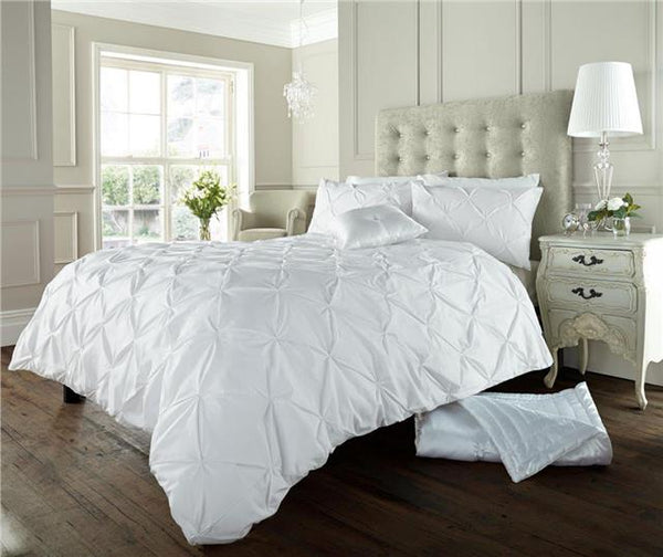 White bedding duvet set plain matt cotton diamond pintuck quilt cover