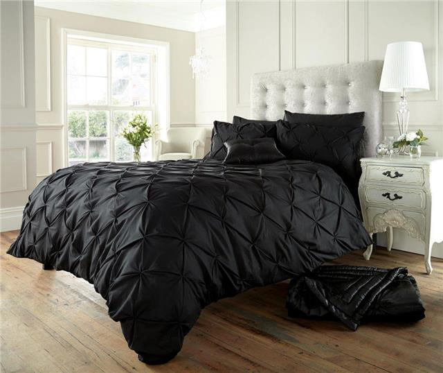 Black bedding duvet sets plain matt cotton quilt cover diamond pintuck design