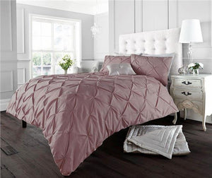 Pink bedding duvet sets plain matt cotton quilt cover diamond pintuck design