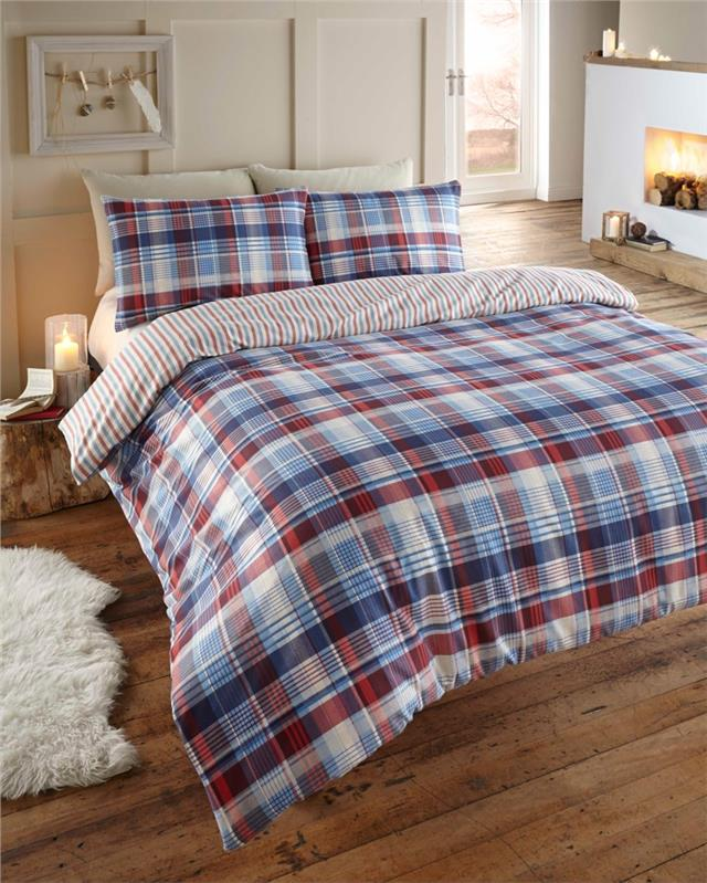 Tartan check duvet sets blue & red cotton flannelette quilt cover bedding